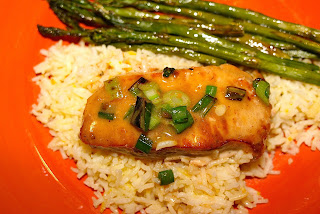 orange pork saffron rice asparagus