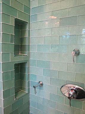 004 Green Glass Subway Tiles Shower Two Shower Nooks Glass Shower