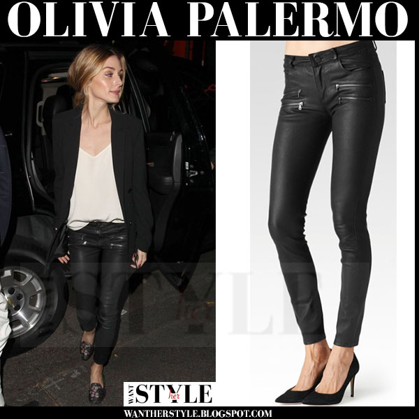 Olivia Palermo in black blazer and black leather zipper skinny pants paige denim edgemont what she wore night out
