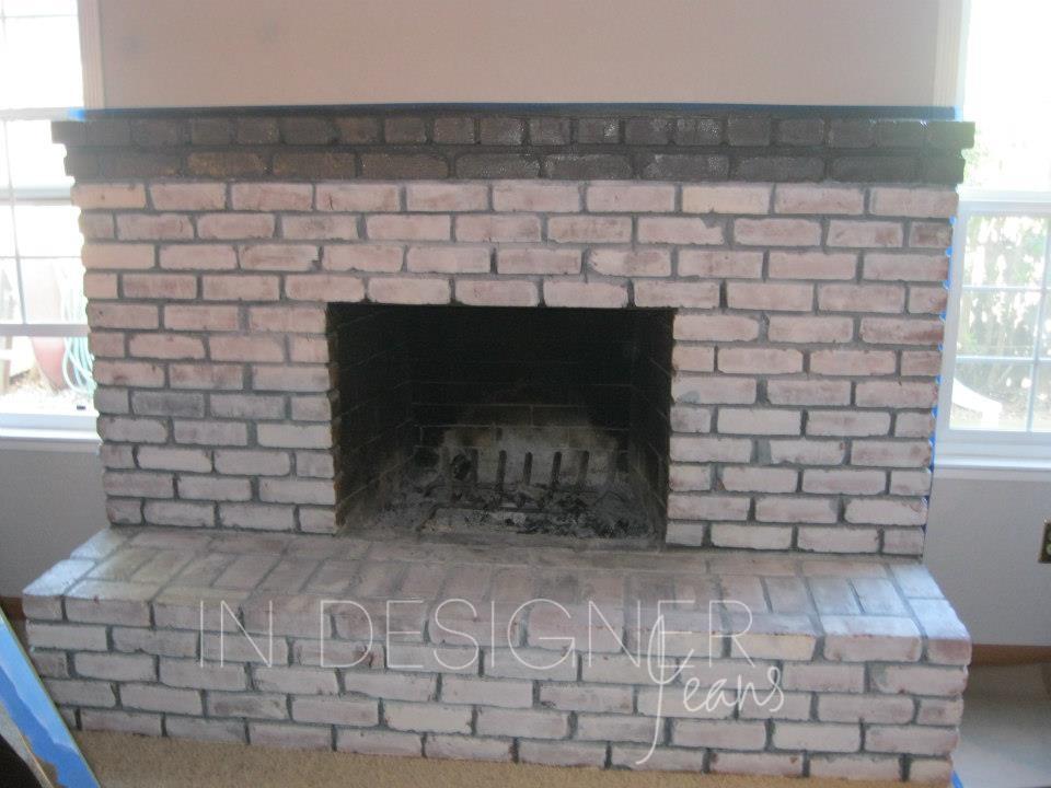 in designer jeans brick fireplace makeover