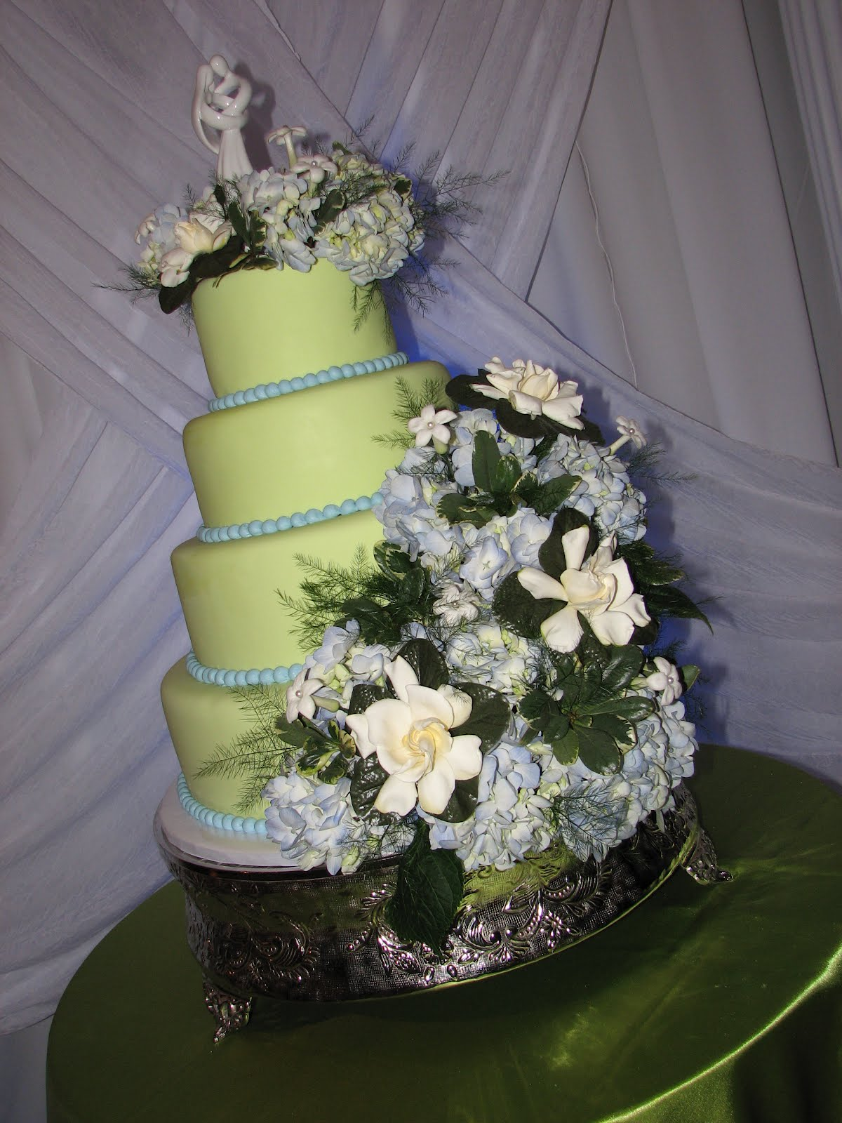 Decadent Designs: David and Mayra s Green/Blue Wedding Cake