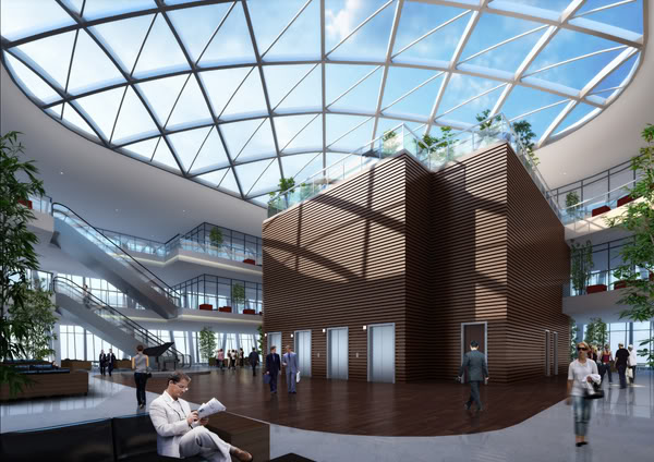 Rendering of the sky lobby at the China Zun (CITIC Plaza) by TFP Farrells, Beijing, China