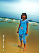 Little sis at Tanjung Aru Beach