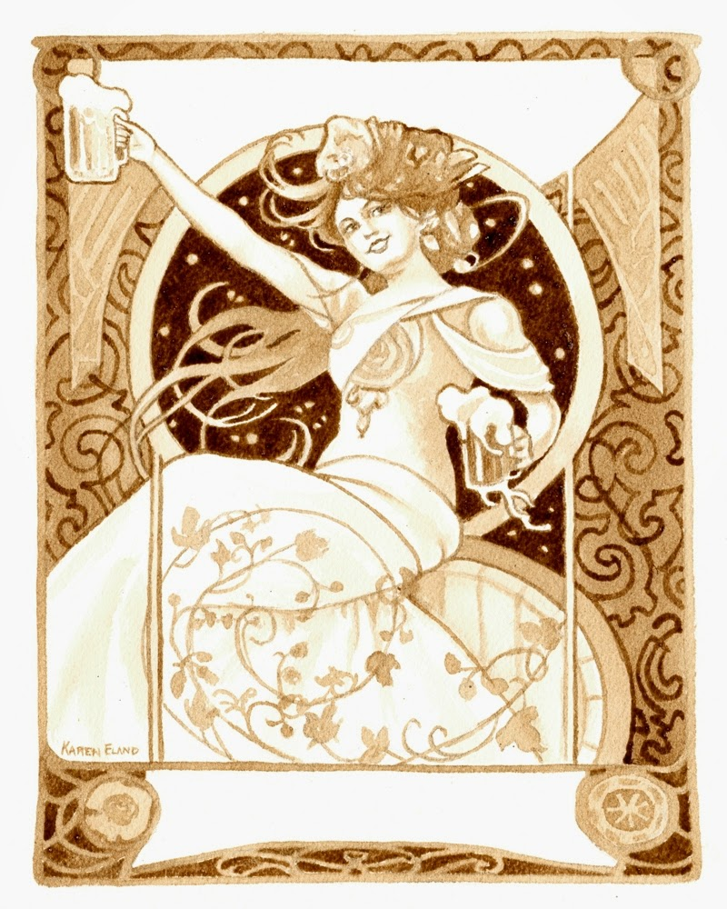 04-Cheers-Karen Eland-Vintage-Looking-Beer-and-Water-Paintings-www-designstack-co