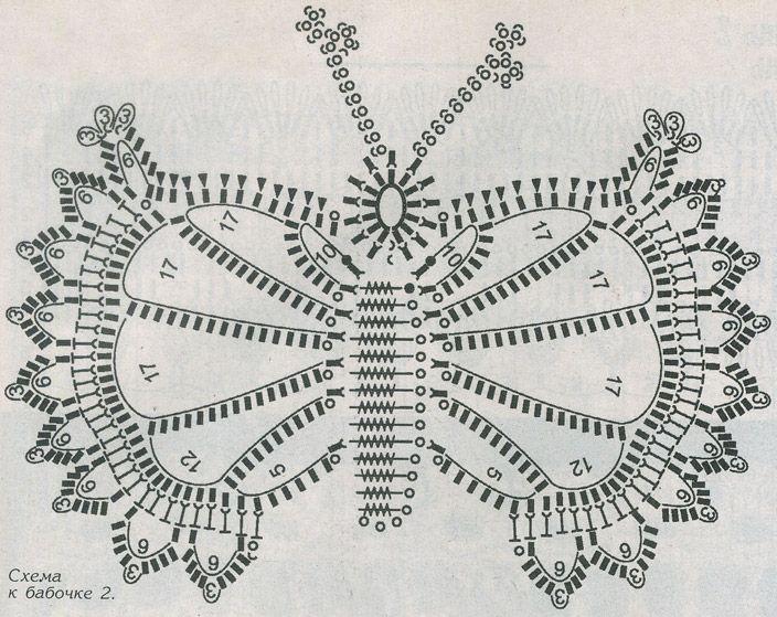 Узоры для вязания крючком бабочка 886