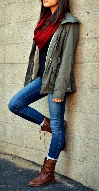 Red scarf, coat, black shirt, denim skinnies and brown combat boots