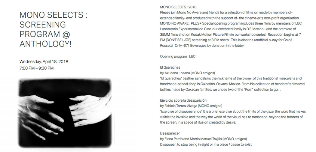 MONO Selects :Screening program by artists in the MONO community