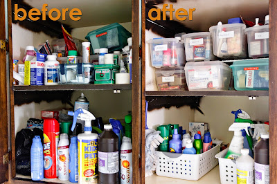 the finished product of a little organization: before and after shots of the medicine/cleaning supplies cabinet