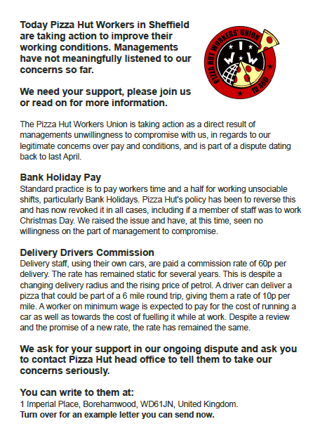 Pizzalicious!: UK Pizza Hut Workers CALL FOR ACTION!