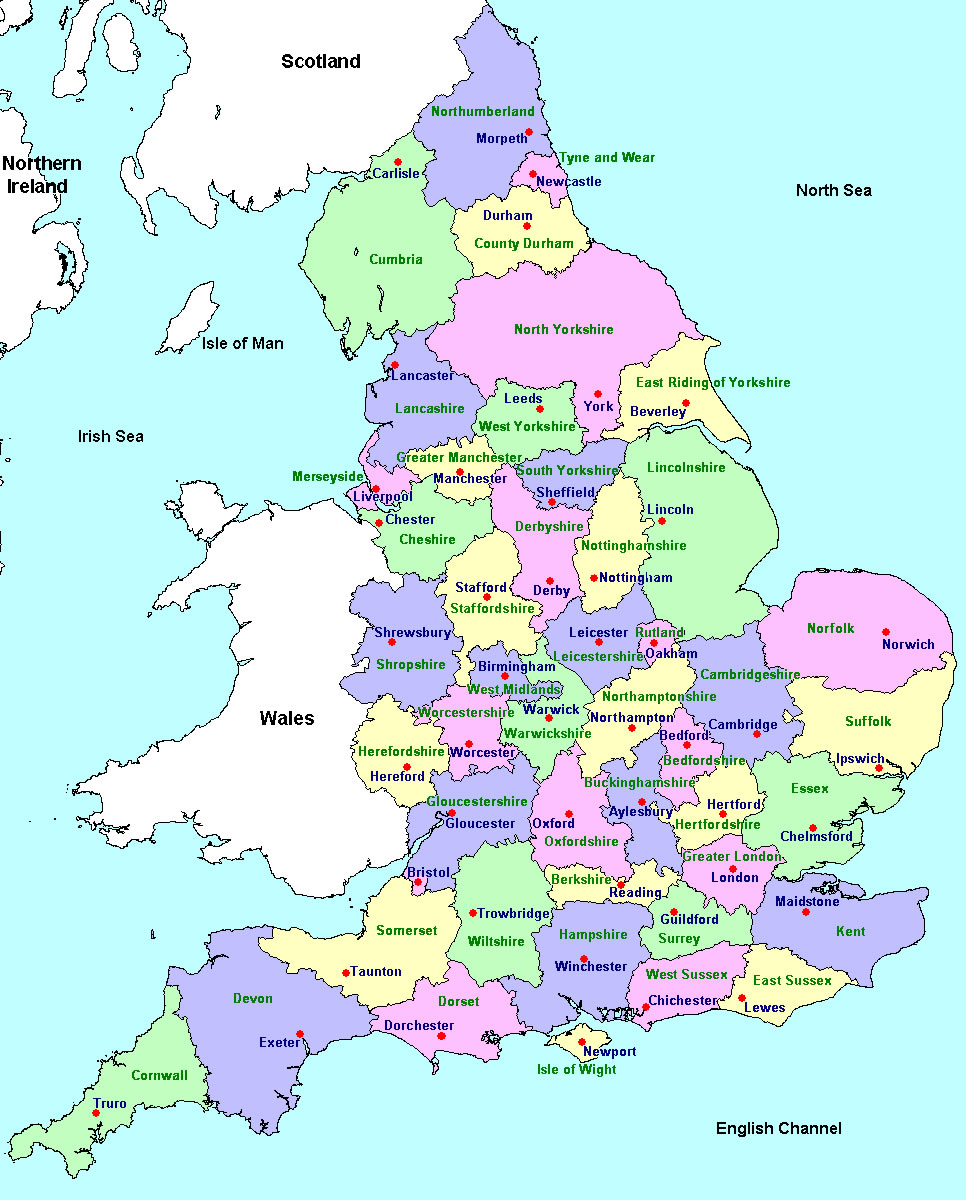 Printable map of uk detailed pictures