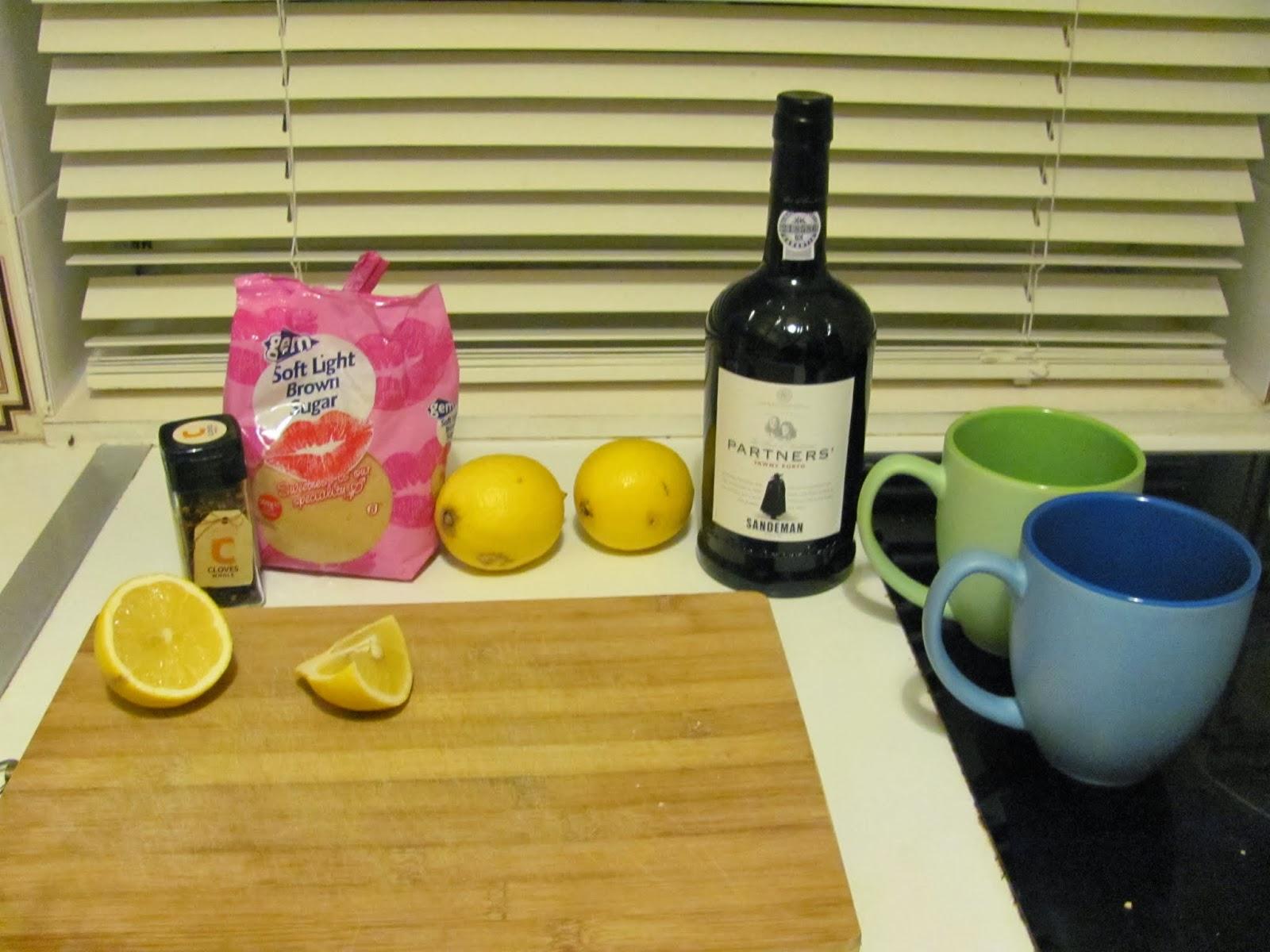 Port, Cloves, Lemons, and Sugar for hot port