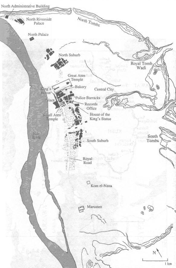 map of ancient egypt cities. Map of the City of Akhetaten