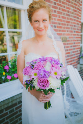 Priscilla of Boston gown and veil, Carlone's Florist bouquet