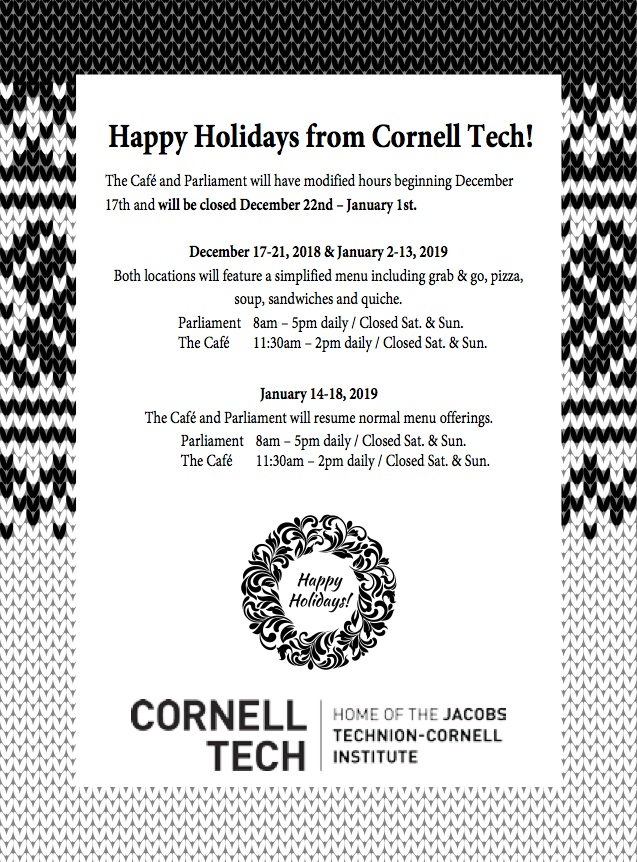 Happy Holidays From Cornell Tech