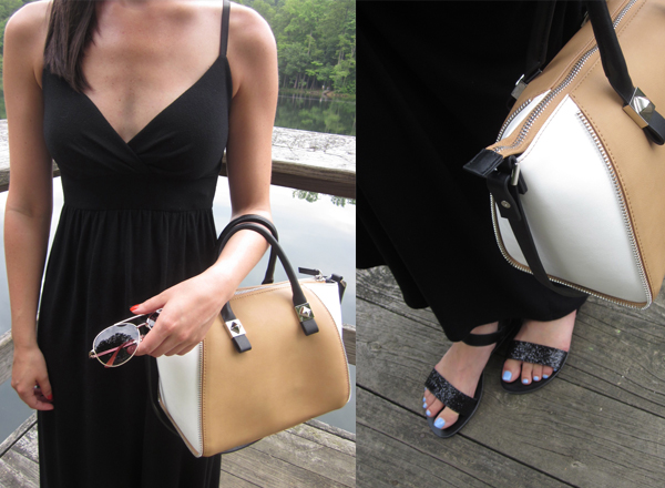 black maxi dress, color blocked bag, bowling bag, black sandals, glitter sandals