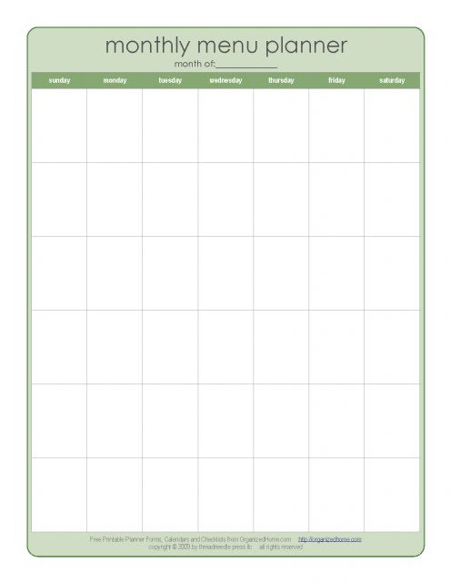 weekly menu planner. a Weekly Menu Plan rather