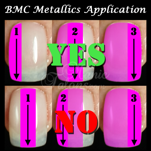 BMC Metallic Gel Polish Application Strokes