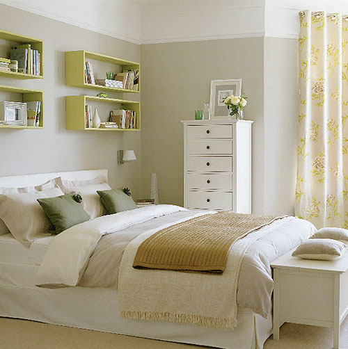 mix of colors to this crisp bedroom design the floating shelves