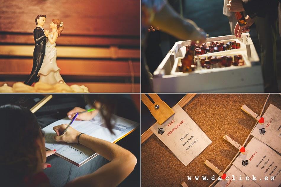 collage libro de firmas , cerevezas, muñecos para tarta de boda , sitting de mesas