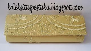 Tas Pesta Gold Bunga Timbul