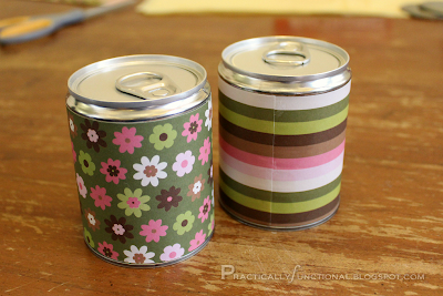 Tin cans with paper