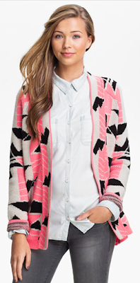 Love by Design Retro Cardigan coral