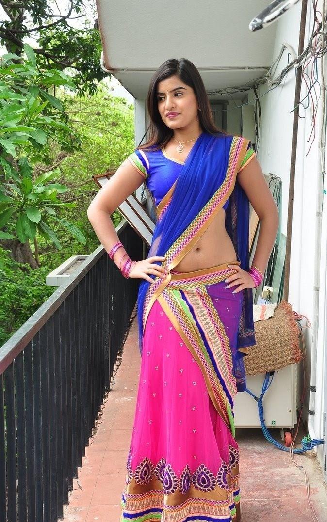 Keerthana Podwal Sexy Navel Exposed In Transparent Half Saree
