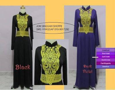 Jubah Kerawang - Hitam & Dark Violet