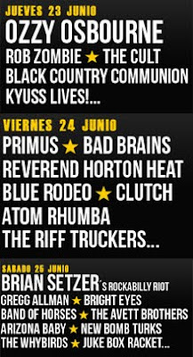 Distribución por días del cartel del Azkena Rock Festival 2011