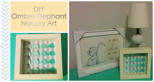 DIY Incredibly Easy Ombre Elephant Nursery Art using Martha Stewart Craft Punch - lemonandmint.ca