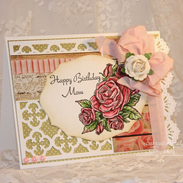 Our Daily Bread Designs, Smell the Roses, Quatrefoil Pattern Background, Elegant ovals, beautiful borders, Blushing Rose Collection, Designer- Robin Clendenning