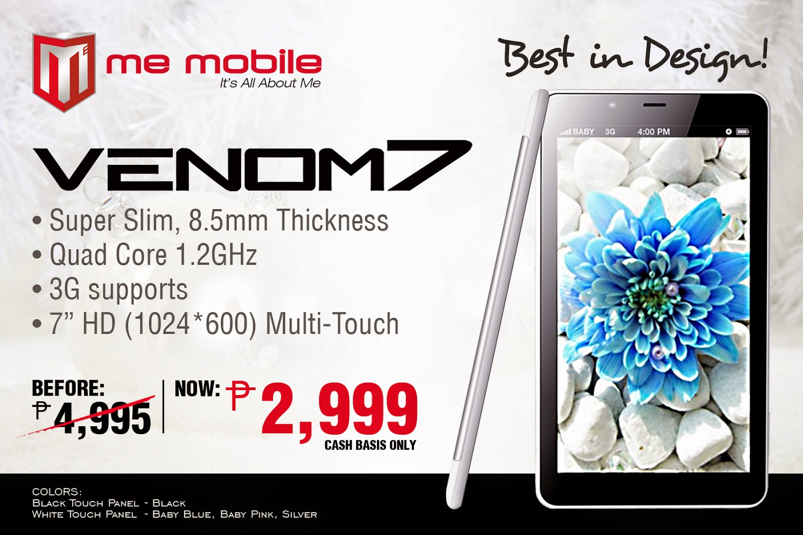 "7"" Quad-core Me Mobile Venom 7 Tablet On Sale for P2,999, 40% Off"