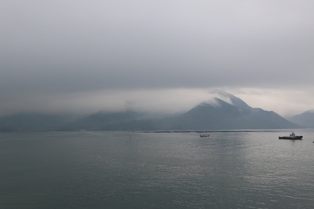 It's cold and foggy after the rain from Hiroshima city to Miyajima Island for 30 minutes ferry ride in Japan
