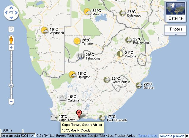 Sa weather and disaster information service south africa google google has added a weather layer to google maps that displays current temperatures and conditions around the world gumiabroncs Choice Image
