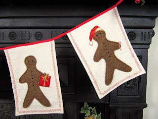 Gingerbread man Christmas garland detail