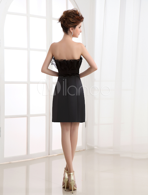 China Wholesale Clothes - Cocktail Dress Black Sheath Strapless Pleated Satin Cocktail Dress