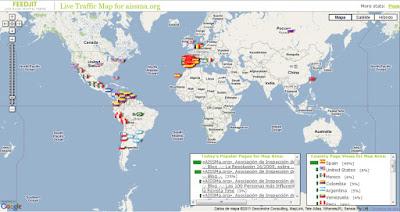 Mapa Mundi sobre el que se encuentran señalizados, con sus respectivas banderas, los orígenes nacionales de los visitantes del Blog. Sistema de registro ofrecido por FeedJit sobre tecnología de Google Maps.