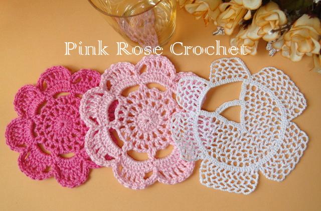 Posa vasos con forma de flor tejido al crochet - con diagrama