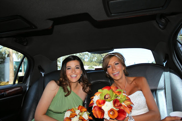 Leyla and Katie in the car on Katie's wedding day