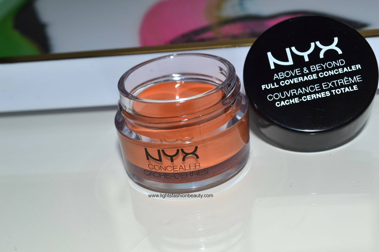 NYX cosmetics Above & Beyond Full Coverage Concealer, drugstore orange concealer, lightsfashionbeauty, drugstore makeup