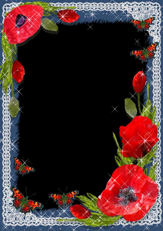 Marcos con flores rojas - Imagui