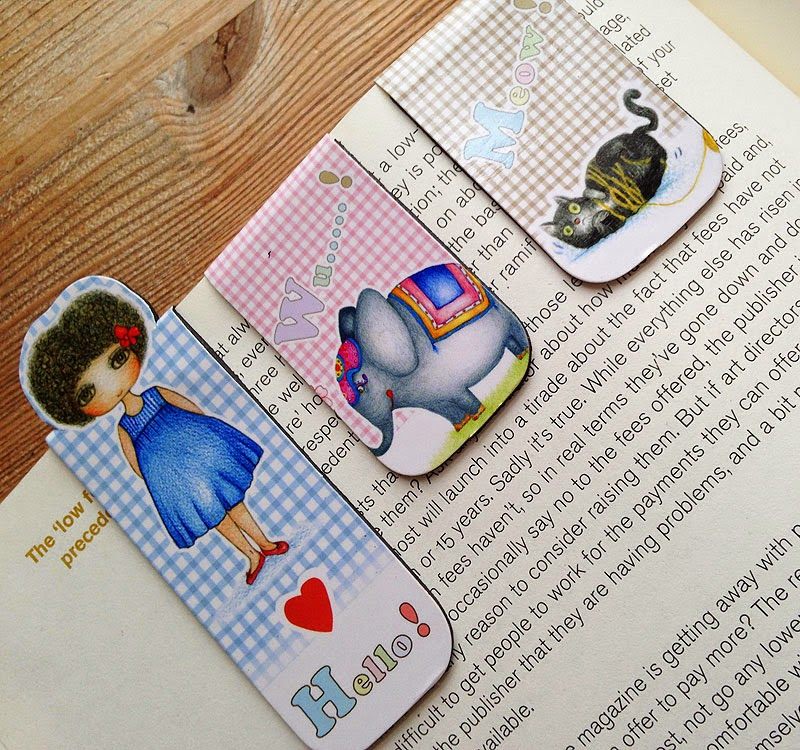 Little Curly magnetic bookmark set A