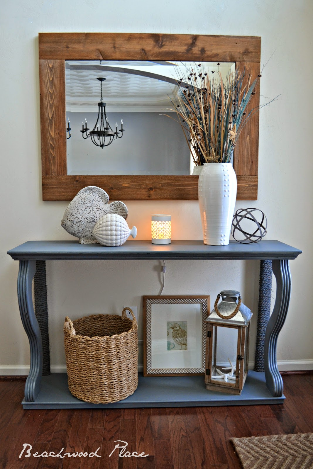 i always wanted to have a wide framed mirror and i finally found a great tutorial on the wood grain cottage