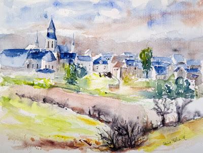 loire valley watercolor