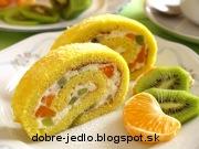 Citrónovo-tvarohová roláda s ovocím - recept