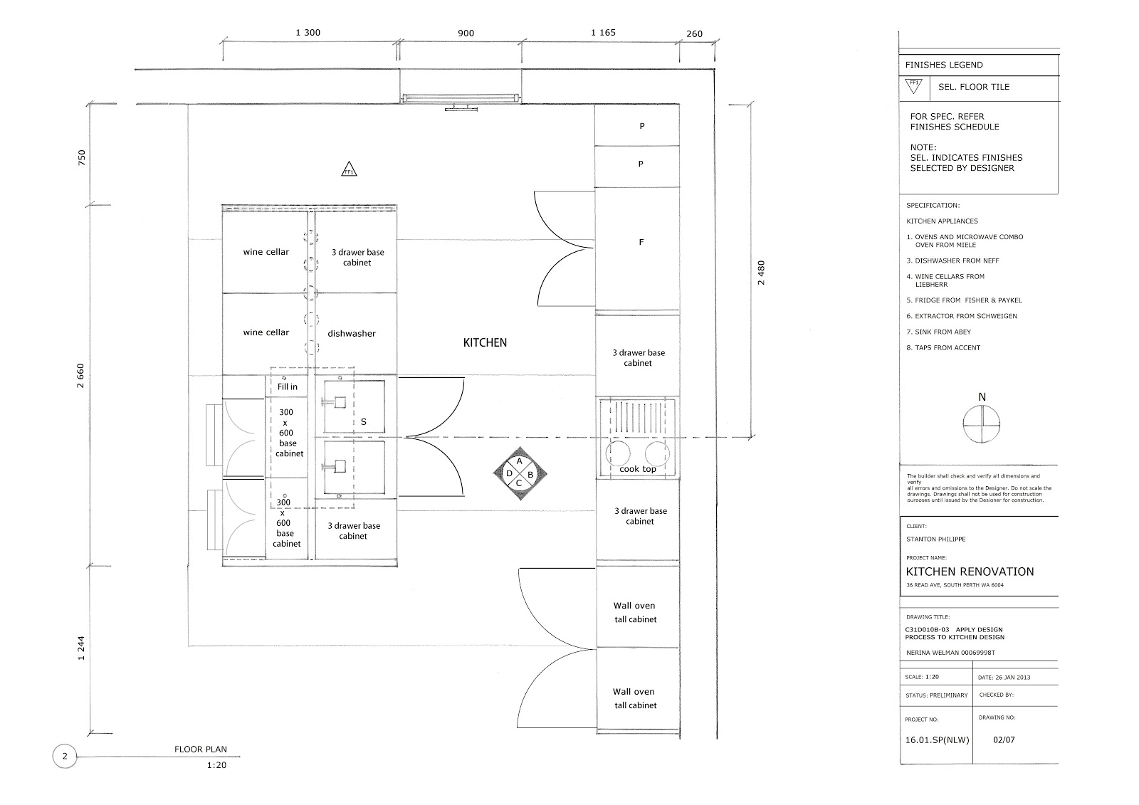 Interiors Kitchen Design Technical Drawings