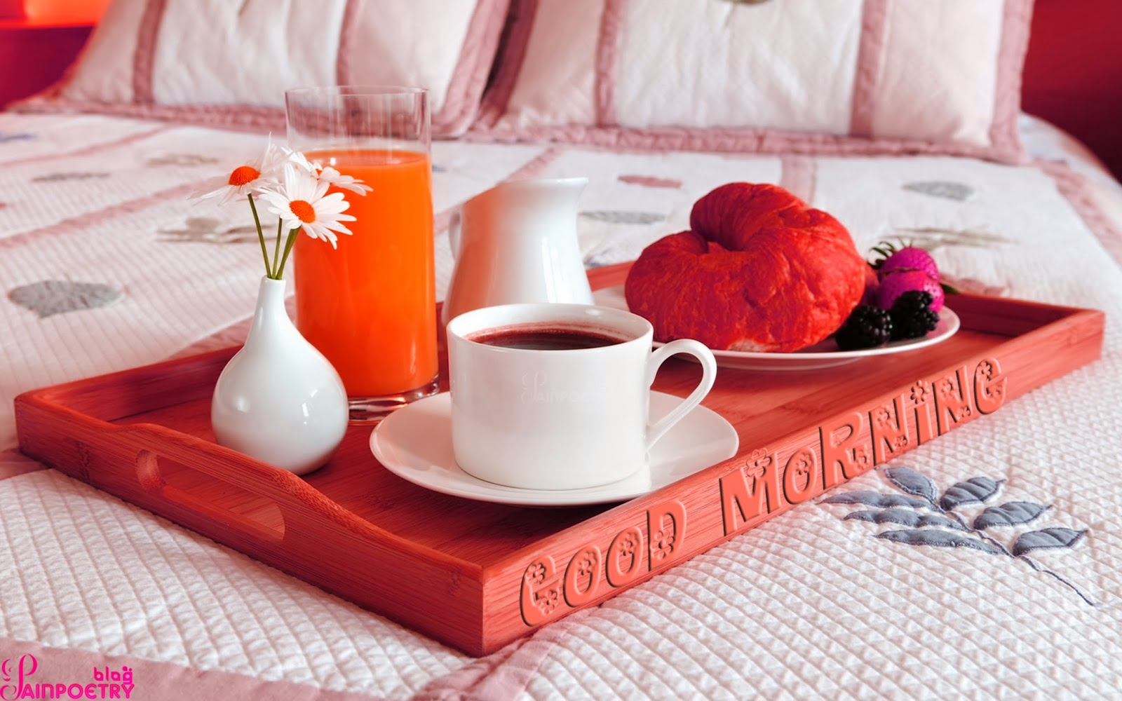 Good-Morning-Wishes-Wallpaper-With-A-Cup-Of-Tea-On-Bed-Image-HD-Wide