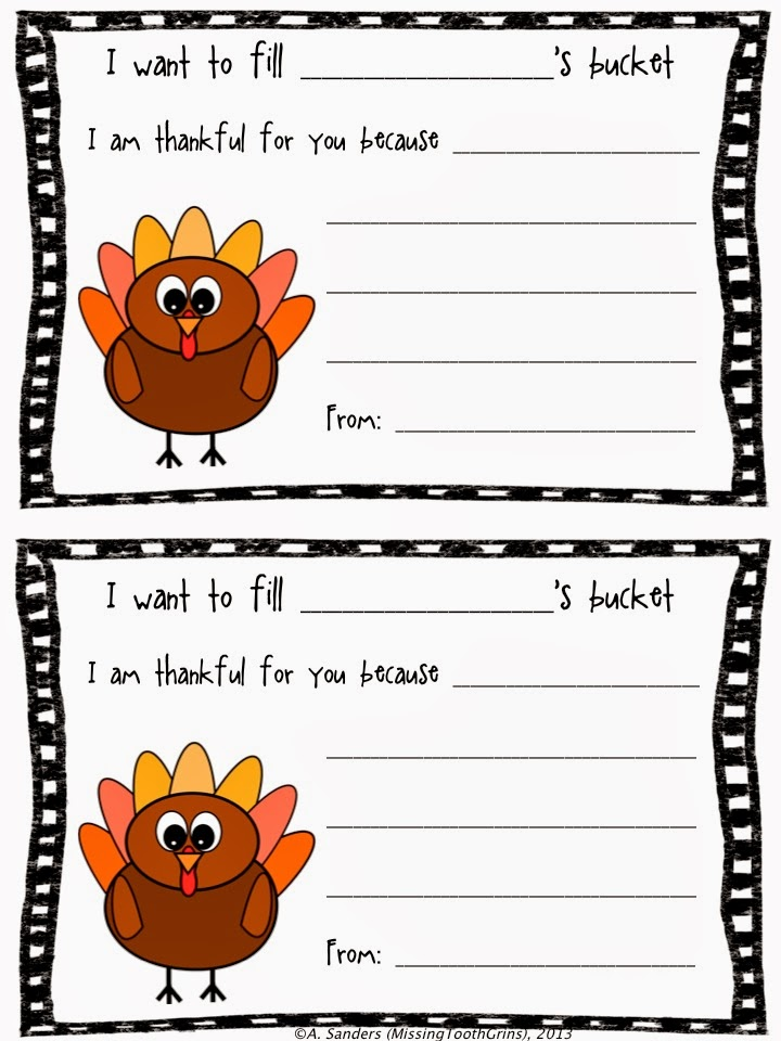 http://www.teacherspayteachers.com/Product/Thanksgiving-Bucket-Fillers-969839