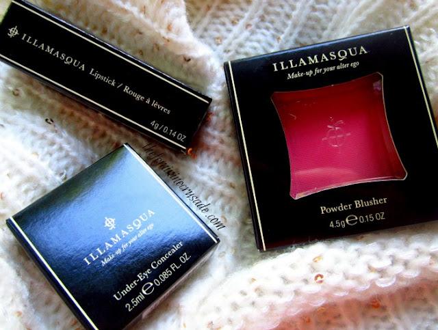 Illamasqua Powder Blusher in Hussy, Illamasqua Lipstick in Scandal, Illamasqua Under Eye Concealer in 200