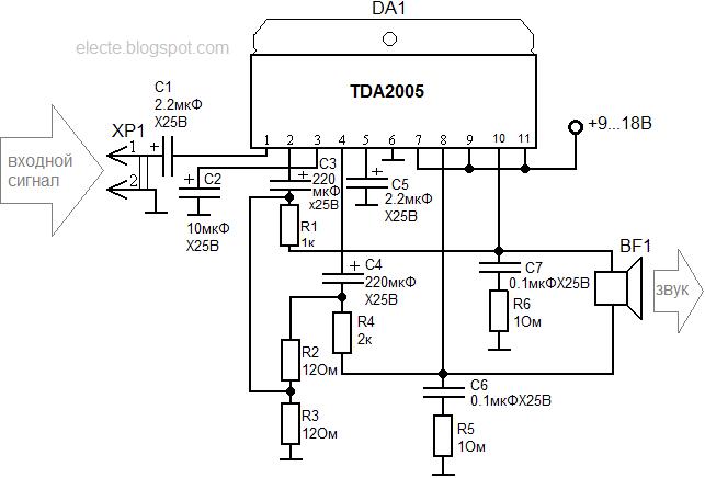 TDA2005 - микросхема мостовой
